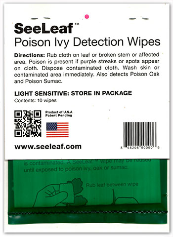 Seeleaf poison ivy detection wipes